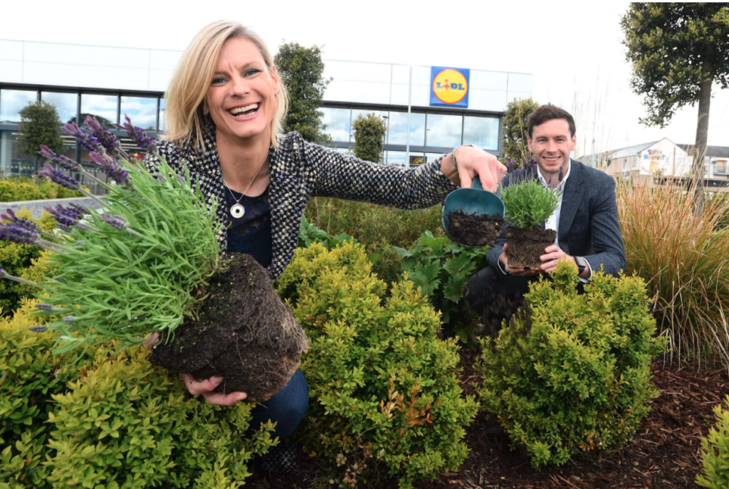 Minister of State for Agriculture with responsibility for land use and biodiversity, Senator Pippa Hackett, with Head of CSR at Lidl Ireland, Owen Keogh, pictured at Lidl Tullamore.